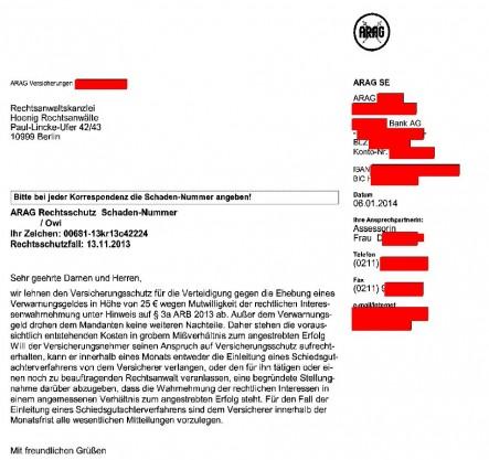 ARAG verweigert Versicherungsschutz